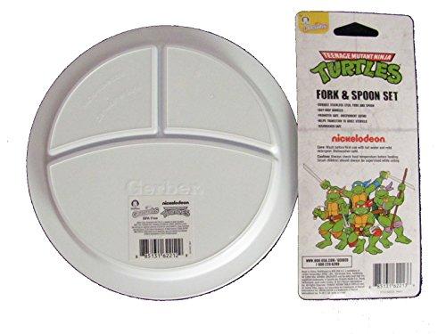 Nickelodeon Teenage Mutant Ninja Turtles Divided Plate, Fork Spoon Set by Gerber Graduates