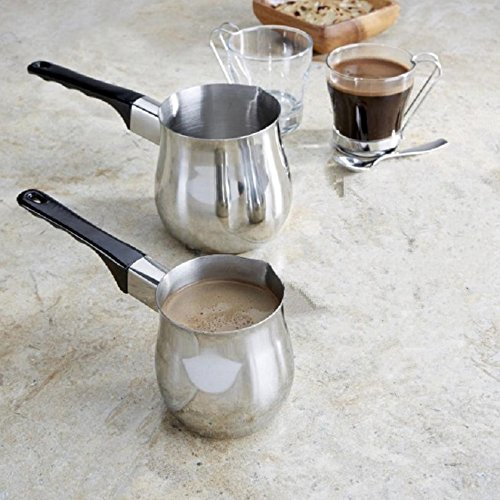 (2 Piece Classic Turkish Coffee Wamer & Server Set Make and Serve Delicious Traditional Turkish Coffee Milk Warmer 12 Ounce and 24 Ounce Set)