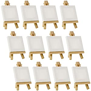 """US Art Supply Artists 3""""x3"""" Mini Canvas & Easel Set Painting Craft Drawing - Set Contains: 12 Mini Canvases & 12 Mini Easels"""