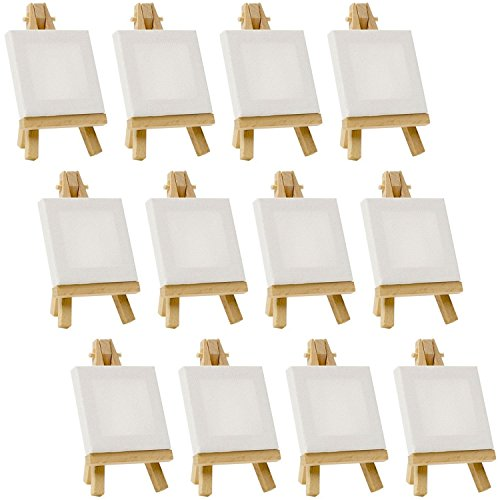 US Art Supply Artists 3″x3″ Mini Canvas & Easel Set Painting Craft Drawing – Set Contains: 12 Mini Canvases & 12 Mini Easels