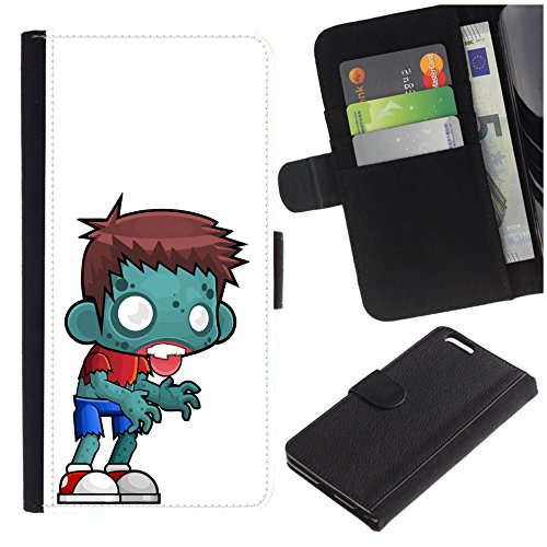 Colorful Pattern Flip Wallet Leather Holster Protective Skin Case for Samsung Galaxy S7 Active (NOT for S7) (Cartoon Scary Zombie Boy)]()