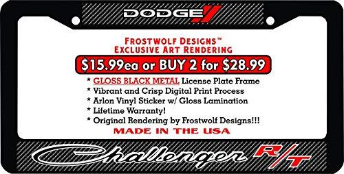 Frostwolf Designs Dodge Challenger RT Dodge Speedometer Graphics Top Custom Metal License Plate Frame (1, Carbon Fiber)