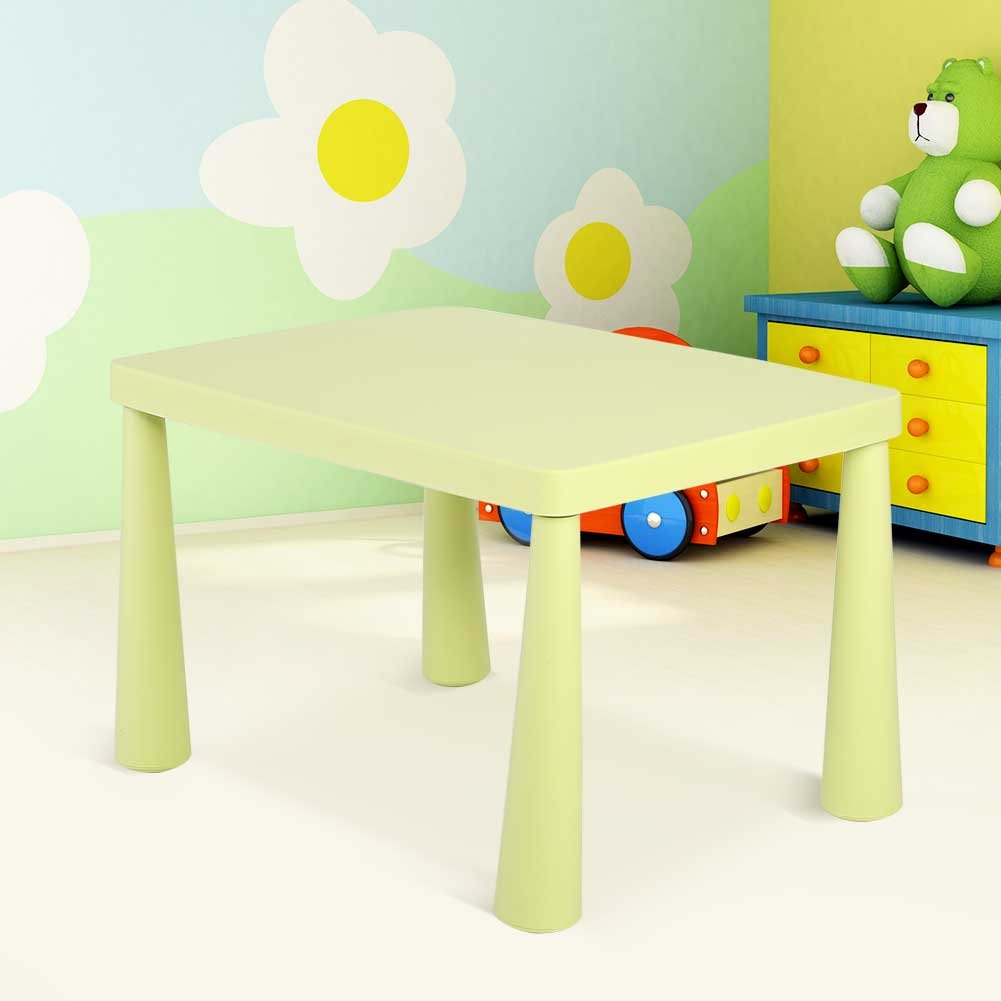 Plastic Kids Children's Play Table, Stackable School Home Learning and Education Activity Table Kid's Play Learning Furniture for 1.5-8 Years Old Kids,30'' x 21'' x 20'',Light Green