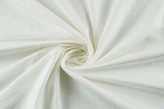 Tela al metro color satén de algodón blanco Damasco barroco ...