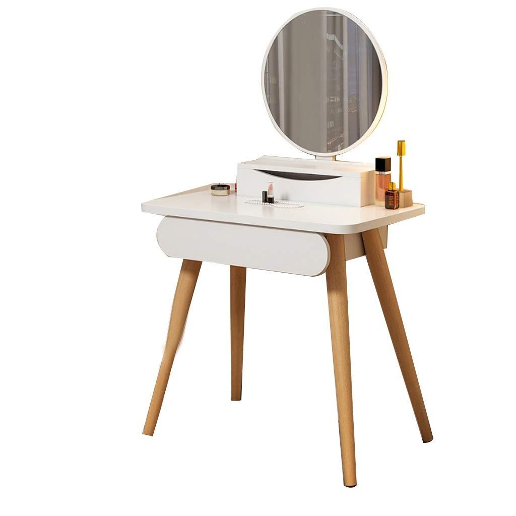 WXF Schminktische Spiegel, Nordisches Massivholz Material Kleine Wohnung Mit Hell Beleuchtetem Spiegel Einfachheit Modern Mit Schubladen Schminktisch (Size : 60cm)