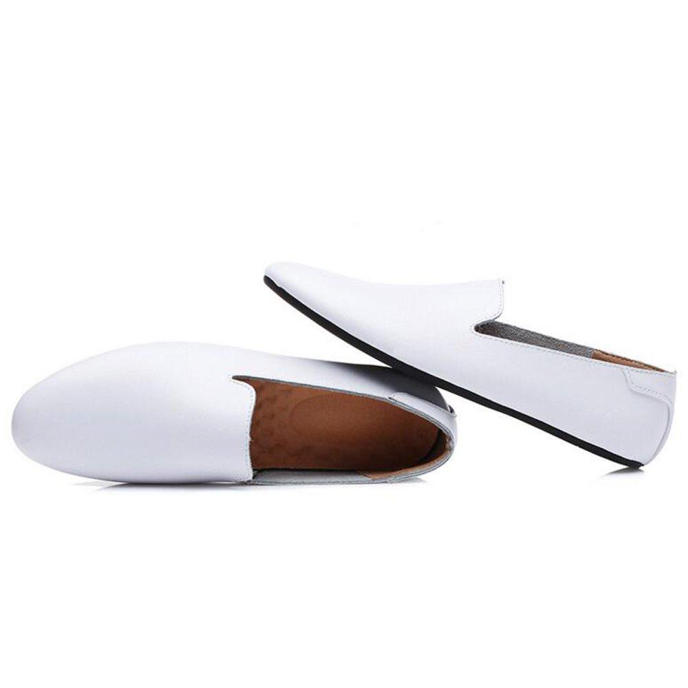 Zapatos de verano nuevos de cuero ocasionales de los hombres Zapatos de mocasines de negocios de moda Zapatos de los hombres de los mocasines Zapatos ocasionales perezosos de cuero de la PU Zapatos de frijoles de los hombres GAOLIXIA ( Color : Blanco , ta