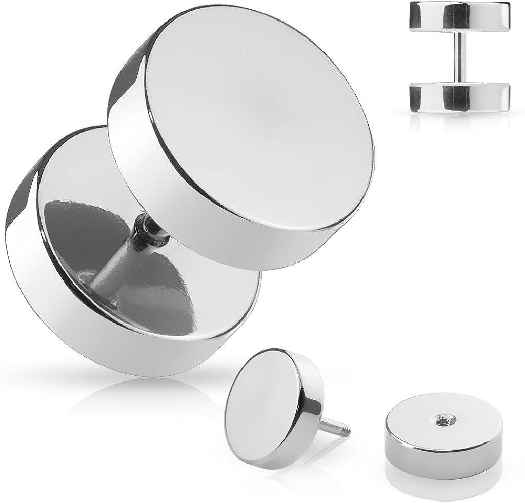 Falso Piercing Dilatador en acero plateado – diámetro 10 mm ...