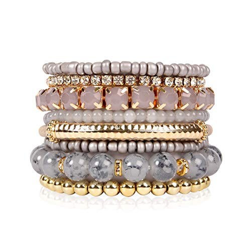 - RIAH FASHION Multi Color Stretch Beaded Stackable Bracelets - Layering Bead Strand Statement Bangles (Original - Light Grey, 8)