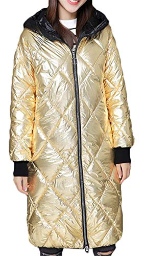 (SELX Women Hoodie Zipper Winter Parka Coat Metallic Quilted Puffer Down Jacket Golden US L)