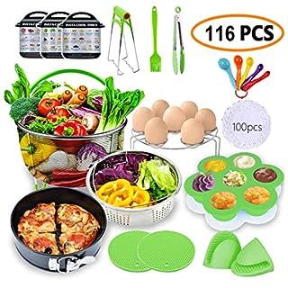 MC-Elec Pressure Cookers Accessories Set,116 Pcs Instant Pot Accessories Compatible with 5/6/8Qt - Cake Baking Papers,2 Steamer Baskets,Non-stick Springform Pan,Egg Rack,Egg Bites Mold,Kitchen
