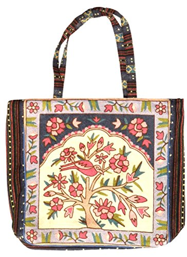 Top Purple Bird & Flower Tree Lover Embroidered Crewel Work Woven Over the Shoulder Classic Women Tote Handbag Purse Bag Winter 2018 Christmas Gift Idea for Sale Ladies Teen Girl Her (Style 7)
