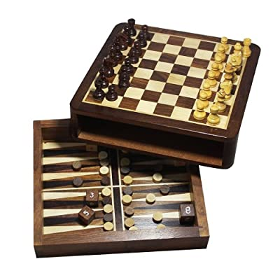 Christmas Gifts Handmade Backgammon Chess Set Wooden Board Game with Storage - Magnetic 2 in 1 Chess Set and Backgammon Combo Game