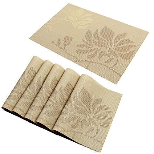 Theme Placemats (HEBE Placemats Heat Insulation Dining Table Place Mats Washable Stain-resistant Woven Vinyl Kitchen Placemats Set of 6 (6, Cream))