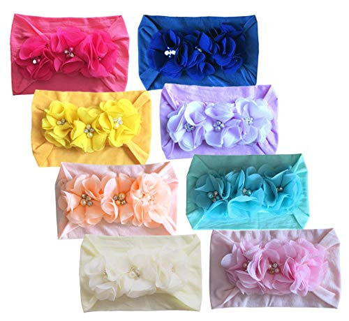 Baby Girl's Beautiful Headbands Newborn,Toddler and Kids Elastic Hairband for Photograph (Chiffon Pearl-8PCS) ()
