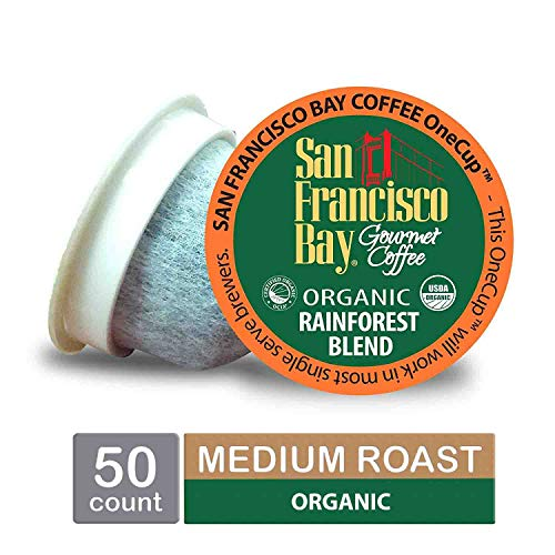 San Francisco Bay- Office OneCups- Rainforest Blend 50 Count- SINGLE WRAP- Single Serve Coffee Compatible with Keurig K-cup Brewers Single Serve Coffee Pods, Compatible with Most Single Serve Brewers (Rainforest Single)