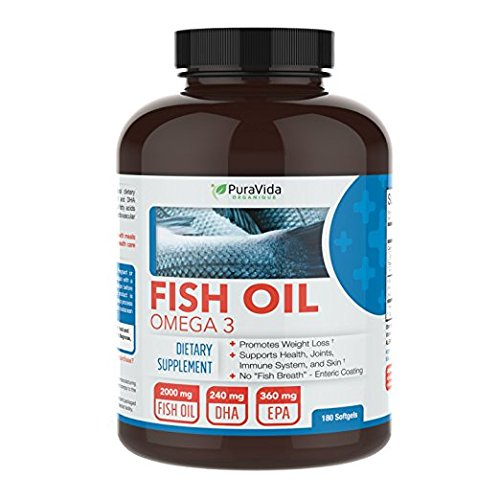 Avalene Nutrition Puravida Organique Omega 3 Enteric Coated Fish Oil Double Strength Burpless  180 Count