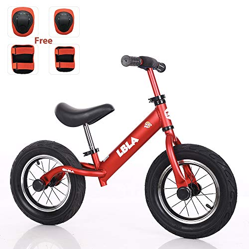 Kids Balance Bike, No Pedal Toddler Bike with Carbon Steel Frame Adjustable Handlebar and Seat 12inch Toddler Walking Bicycle for Kids 2 to 6 Years Old (red)