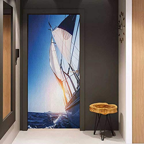 - Onefzc Front Door Sticker Sailboat Sail Boat in Action Summer Adventure Water Transport Sunset Travel Print for Home Decor W17.1 x H78.7 White Dark Blue