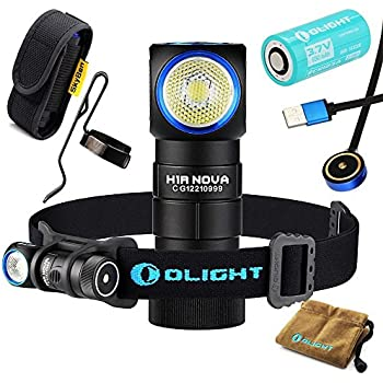 Olight H1R CREE XM-L2 LED 600 Lumens Rechargeable Headlamps with RCR123A Battery and SKYBEN Holster(Cool White)