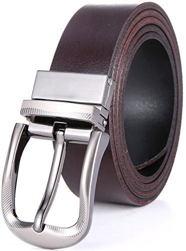 Marino's Men's Genuine Leather Reversible Brown/Black Belt with Removable Scratch Resistant Buckle - Style1 - Custom: Up to 44
