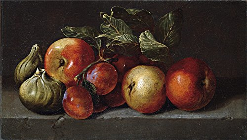 Polyster Canvas ,the High Resolution Art Decorative Prints On Canvas Of Oil Painting 'Espinosa Juan De Manzanas Higos Y Ciruelas Segundo Tercio Del 17 Century ', 24 X 42 Inch (Manzana Apple Halloween)