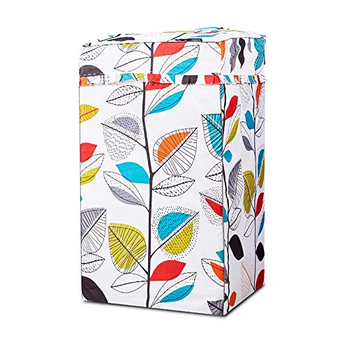 Portable Washing Machine Cover,Top Load Washer Dryer Cover,Waterproof Fully-Automatic/Wheel Washing Machine Cover-W24D25H38in,Colorful Leaves