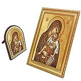 FengMicon Painting Art Virgin Mary and Child Jesus Frame Catholic Gift Christian Icon Set