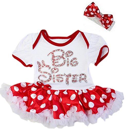 Kirei Sui Baby Red Polka Dots Rhinestone Big Sister Bodysuit Tutu Romper Medium Red ()