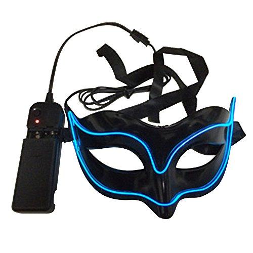 [Bonamana LED Light Up Mask Costume EL Wire Halloween Mask Luminous Venetian Mask Masquerades for Adult Unisex (Royal] (Rorschach Costume Halloween)