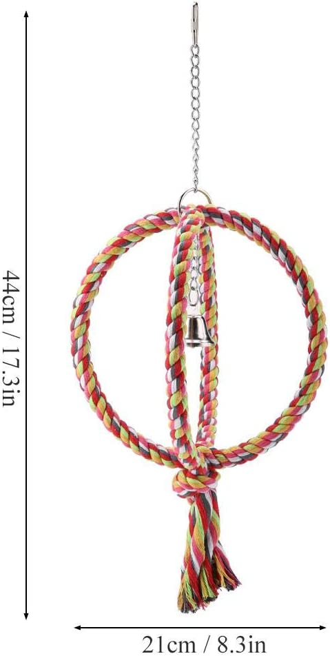 HEEPDD Bird Rope Swing, Parrot Ring Rope Perch Stand with Bell Chewing Biting Grinding Climbing Cage Toys for African Grey Macaw Budgie Parakeet Cockatiel Cockatoo Conure Lovebird Finch
