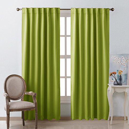 NICETOWN Green Curtains Blackout Drape Panels - (Grass Green Color) W52 x L84, Double Panels, Window Treatment Blackout Draperies for Kitchen (Curtains Green Lime Drapes)