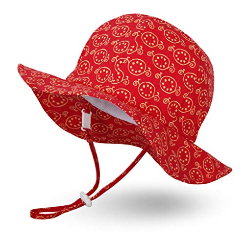 Ami&Li tots Unisex Child Adjustable Wide Brim Sun Protection Hat UPF 50 Sunhat for Baby Girl Boy Infant Kids Toddler - S: Pomegranates (Hat Pomegranate)