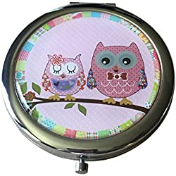 Pretty Owls Cosmetic Makeup Compact with Standard and Magnifying Mirrors (Pink)