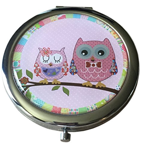 (Pretty Owls Cosmetic Makeup Compact with Standard and Magnifying Mirrors (Pink))