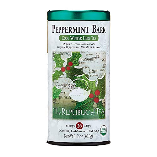 (The Republic Of Tea Organic Peppermint Bark Herb Tea, 36 Tea Bags, Fusion Of Cocoa And Peppermint)