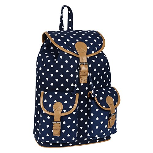 Lychee Bags Women's Blue Canvas Lucy Backpack