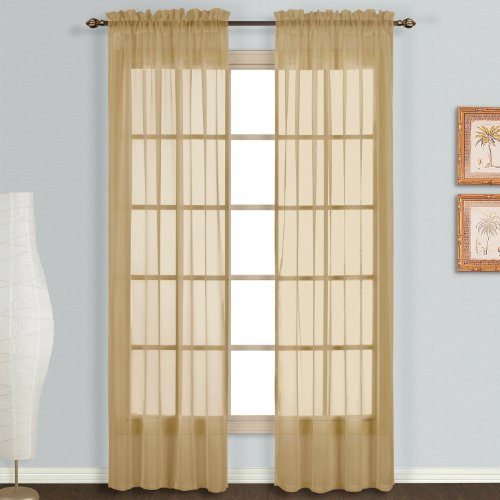 United Curtain Monte Carlo Sheer Window Curtain Panel, 59 by 84-Inch, Bronze, Set of ()