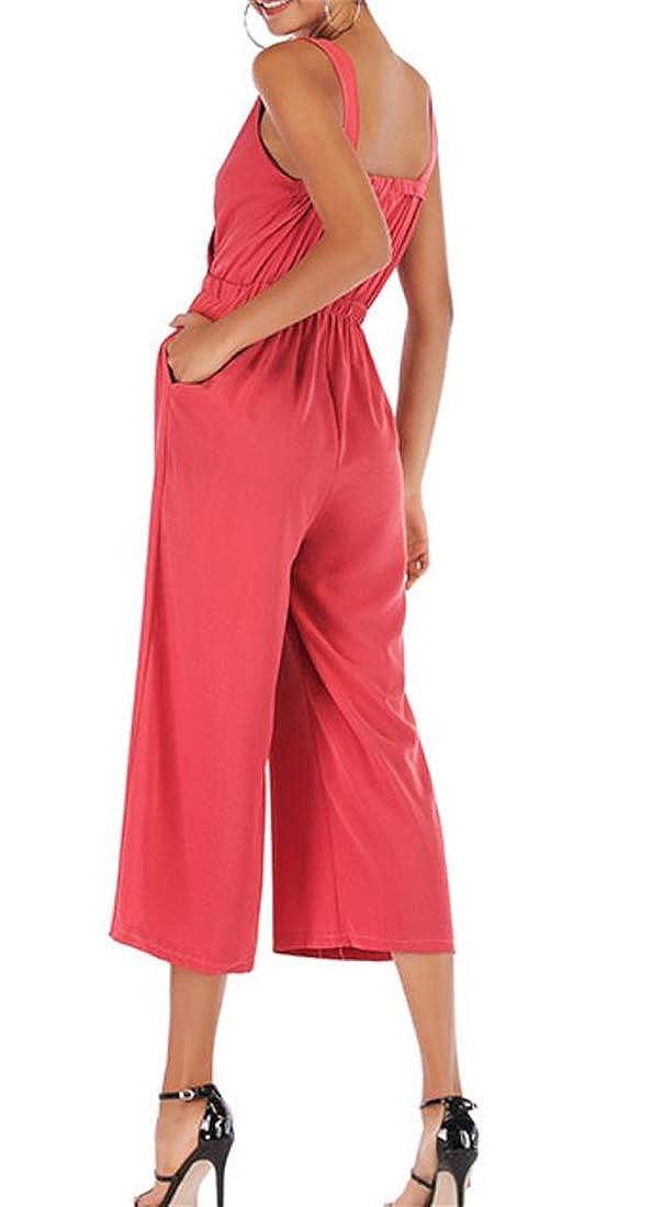 Etecredpow Women V-Neck Ankle Criss Pants Sleeveless Wide-Leg Romper Jumpsuits