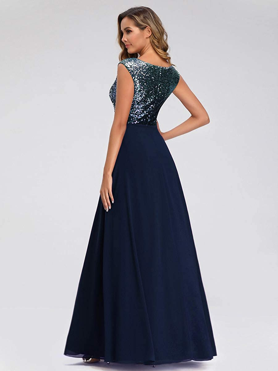 Ever-Pretty Womens Elegant V Neck A Line Empire Waist Long with Sequins Prom Party Evening Dresses 00962
