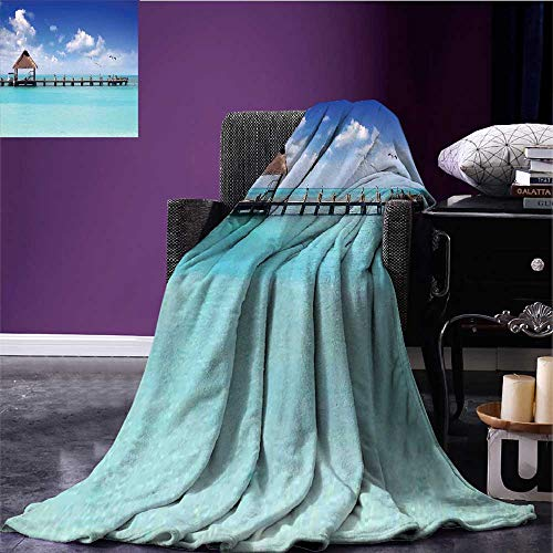 RenteriaDecor Tropical Microfiber All Season Blanket Seascape Clouds Sky with Birds Wooden Dock Lonely Bungalow Tropical Picture Warm All Season Blanket for Aqua Blue Umber Bed or Couch 50