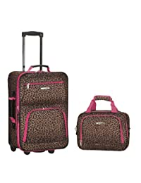 Rockland F102 Luggage Printed Set, Pink Leopard, Medium, 2-Piece