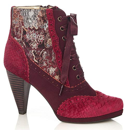 Bordeux High Ruby Shoo Boots Lace Heel up Peri Women's q8tw4rt1