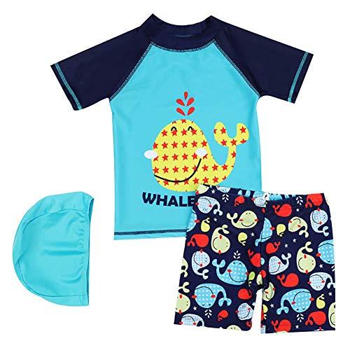 - Baby Children Boys Two Piece Swim Cartoon T- Shirt + Trunks Set UPF50+ Rash Guard Bathing Suit Swimwear 6