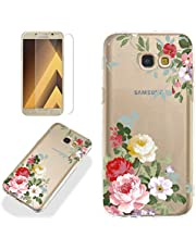 Clear Case for Samsung Galaxy A5 2017 (A520) with Screen Protector,QFFUN Ultra Thin Slim Fit Soft Transparent Silicone Phone Case Crystal TPU Bumper Shell Scratch Resistant Protective Cover - Flower
