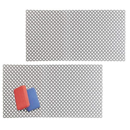 mDesign Decorative Kitchen Sink Dish Drying Mat/Grid - Plast