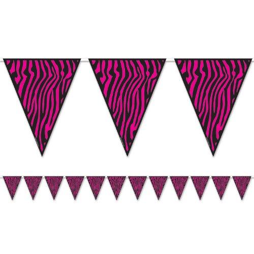 Beistle 54241-CBK Zebra Print Pennant Banner, 10-Inch by