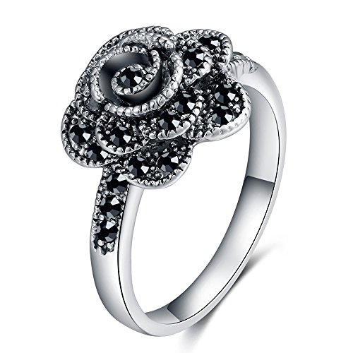 Vintage Silver Flower - Shefashion Vintage Silver Rose Flower Rings Black Marcasite Jewelry Band Rings Women Girls Size 7