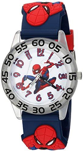 Marvel Boy's 'Spider-Man' Quartz Plastic Casual Watch, Color:Blue (Model: WMA000170)