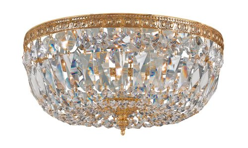 English Bronze / Hand Polished Richmond 3 Light Flush Mount Ceiling Fixture With Hand-Cut Majestic Wood Polished Crystals