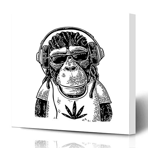 (Ahawoso Canvas Print Wall Art 16x16 Inch Monkey Headphones Sunglasses Dressed Leaf Vintage Black Engraving for White Gold Modern Artwork Printing Home Decor Wrapp Gallery Painting )